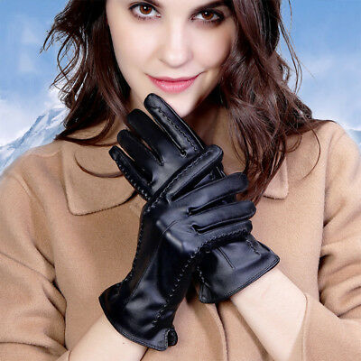 Ladies Women Soft Leather Gloves Warm Lining Driving Winter Touch Screen Y3Z2L
