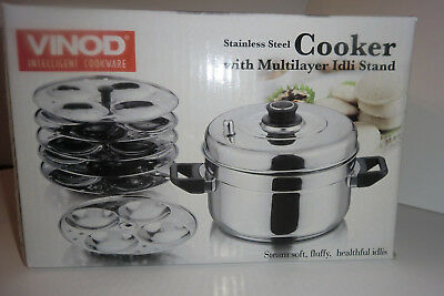 Vinod Stainless Steel  Idli  Cooker  -Steamer  with Multilayer Stand GREAT PRICE