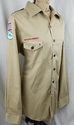 BOY / CUB SCOUT SHIRT - ADULT Large (Tan) LONG SLEEVE - OFFICIAL BSA BEAVER TAIL