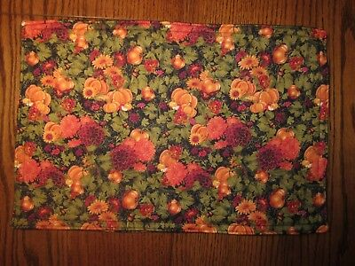 Autumn Fall Pumpkin Flowers Floral Leaves Handmade Fabric Placemats Set Of 4