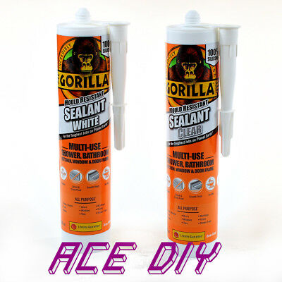 Gorilla Glue Silicone Sealant Mould & Mildew Resistant Clear White Adhesive Seal