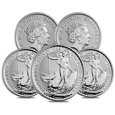 Lot of 5 - 2019 Great Britain 1 oz Silver Britannia Coin .999 Fine BU