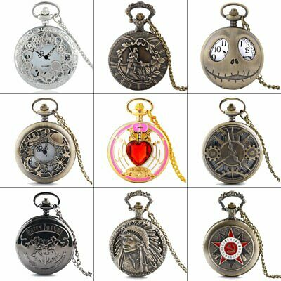 Vintage Quartz Steampunk Pocket Watch Necklace Pendant Chain Retro Gift Antique