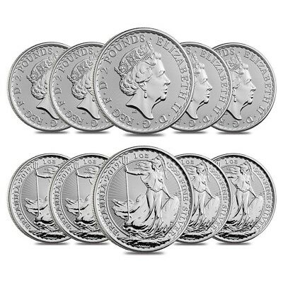 Lot of 10 - 2019 Great Britain 1 oz Silver Britannia Coin .999 Fine BU