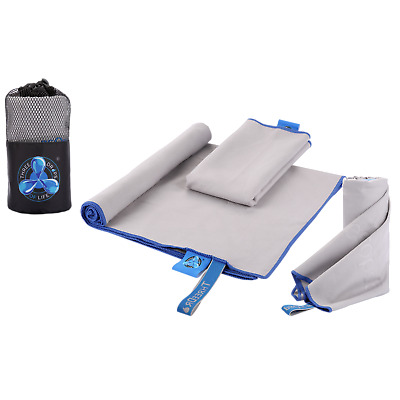 Microfiber Workout Towels - Set of 3 in Varying Sizes - Fitness, Yoga, Camping