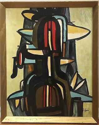 Vintage Mid Century Abstract Geometric Oil Painting Signed Framed