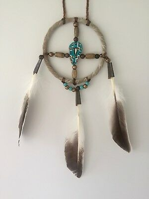 """New Navajo Medicine Wheel 3"""" Circle Of Life With Hand Decorated Antler Button #4"""
