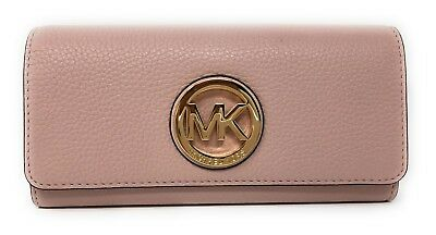 fb52ed51821261 NWT Michael Kors Fulton Flap Leather Flap Continental Wallet Purse in  Blossom