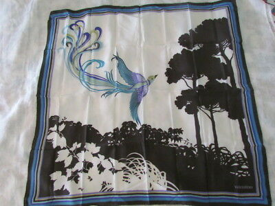 "Valentino Bird 35"" Heavy Silk Crepe Scarf Vintage Italy Stratos White Blue Olive"