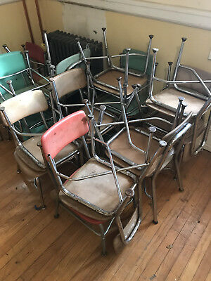 21332 Vintage Childs / Student Metal Elementary SCHOOL DESK CHAIR Mid Century