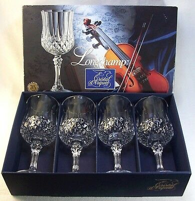 4 Longchamp Cristal d'Arques 24% Lead Crystal 7.5 Oz Goblets Made in France