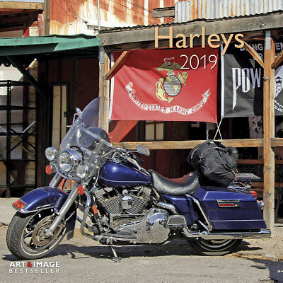 """Harley Davidson Calendar 2019 With """"free"""" Poster & """"free"""" Uk Tracked Delivery"""