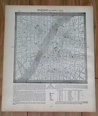 1890 Antique Map Of Heavens Stars Equatorial 0 To 45, 45 To 135, 315 To  360 W.