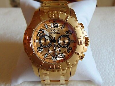 "Invicta 48mm Pro Diver Chronograph ""Copper Dial"" 18K Ion-Plated Gold SS Watch"