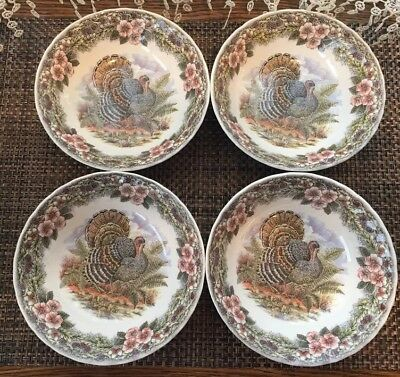 "Thanksgiving Queens Myott Factory Archive 6 1/4"" Cereal Bowls Set of 4 Excellent"