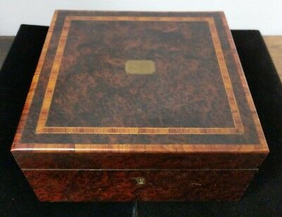 Antique French Working HP Paris 2 Airs Burl Wood Inlaid Music Box W Label C5-12