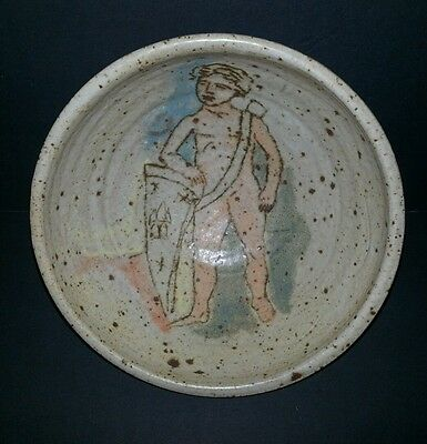 "Unique studio pottery 7 3/8"" bowl young boy illegible chop mark j d f ? Nude"