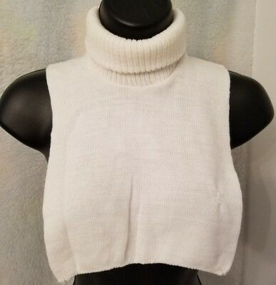 Juniors Womens White Knitted Turtleneck Sweater Dickie