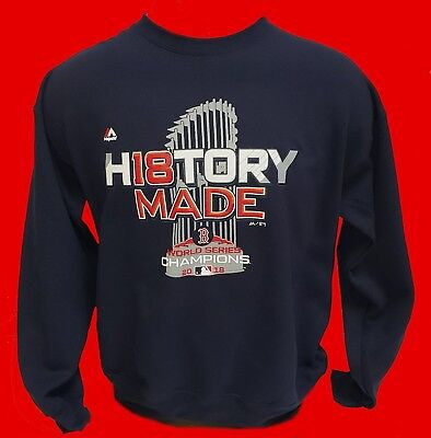 Boston Red Sox 2018 WORLD SERIES Crew Neck Sweatshirt   *HISTORY MADE* NAVY BLUE