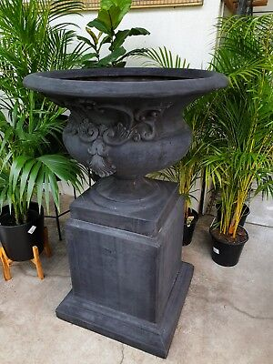 Outdoor Garden Patio St Michele Tall Planter Pot Urn Pedestal Round Bowl Black