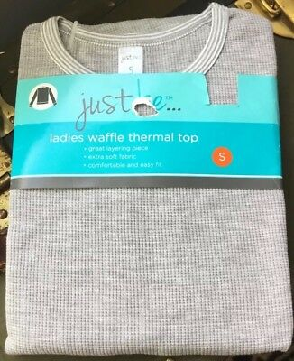 Nwt~Just Be~Light Gray Thermal Top~Waffle~Ladies Sz:s
