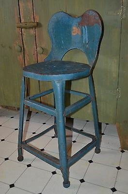 Childs Blue Metal Industrial Stool-Steampunk