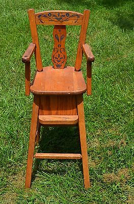 "antique solid oak doll highchair w/stencil-31"" high chair"