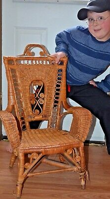 Victorian ornate antique rattan child's / doll chair