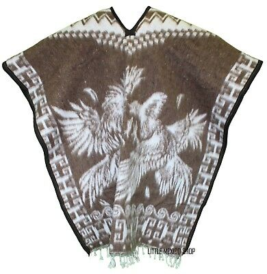 HEAVY BLANKET Mexican PONCHO GALLOS 9 TAN ONE SIZE FITS ALL Blanket Gaban
