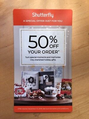 SHUTTERFLY 50% Off Your Order Coupon Code Exp 12/31/18 BN2R Promo
