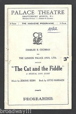 """Peggy Wood """"CAT AND THE FIDDLE"""" Jerome Kern / Alice Delysia 1932 London Program"""