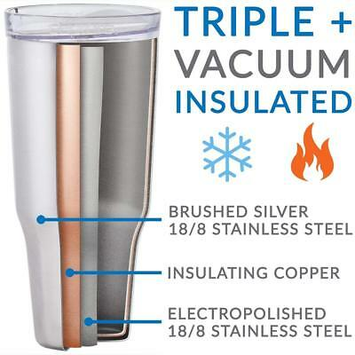Cupture 32oz Silver Double Wall Stainless Steel Vacuum Insulated Tumbler w/ Lid