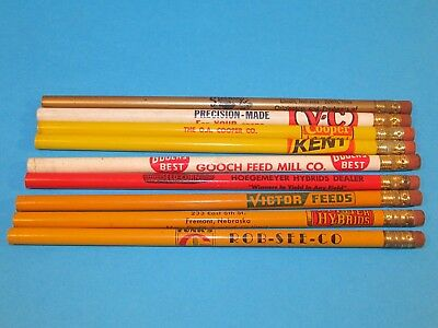 9 Vintage Seed Feed Agricultural Advertising Pencils Unsharpened  Pfister Funks