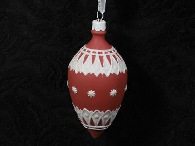 WEDGWOOD NEO BAUBLE RED Red & White Porcelain Bubble Holiday Tree Ornament