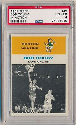 1961-62 Fleer Basketball #49 Bob Cousy In Action HOF PSA 4 SET BREAK CELTICS