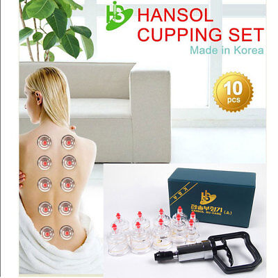 Hansol 10 Cups Cupping Set Slimming Massage Vacuum Therapy Pump Acupuncture