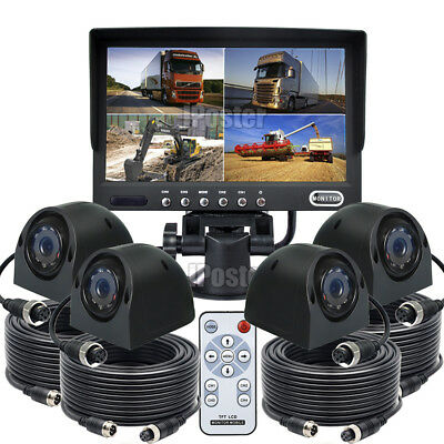 """7"""" Quad Monitor 4x 4PIN Heavy Duty Side IR Rear View CCD Camera 12/24V For Truck"""