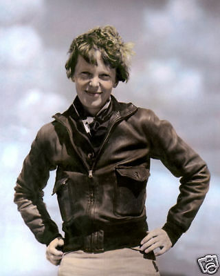 """AMELIA EARHART AVIATION PIONEER & AUTHOR 8x10"""" HAND COLOR TINTED PHOTOGRAPH"""