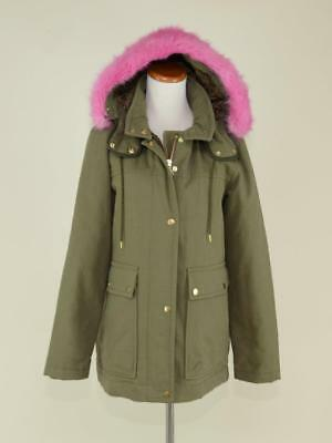 f58fba332e69 J.crew Women s Collection Hooded Parka Coat  495 Pink Fur S Wasabi Green  F6993