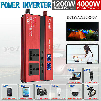 3000W/4000W/5000W Portable Power Inverter Sine Wave DC12V To AC110V/220V 4 USB