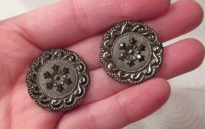 """(2) 1800's 1"""" Antique Black Lacy Glass Buttons w Snowflake & Swirl Silver Luster"""