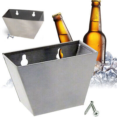 Wall Mount Beer Bottle Opener Cap Catcher Stainless Steel Storage Box Screws New