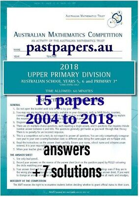 Australian Mathematics Competition AMC AMT 6 solutions Upper Primary Year 5 & 6