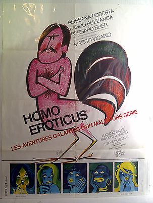 Homo Eroticus (Man of The Year) 1971 French movie poster, 3 testicles, 1 libido