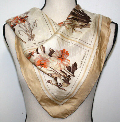 """Vintage 80s Echo Womens Scarf Square Beige Brown Ivory Floral Botany 26"""" x 27"""""""