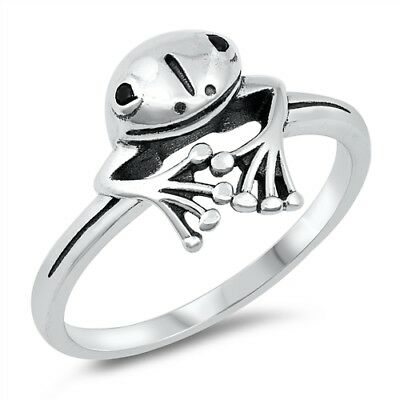 Sterling Silver 925 PRETTY PEEPING FROG DESIGN RING SIZES 4-10