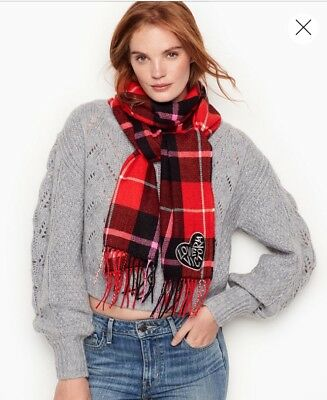 NWT Victorias Secret PINK Winter LONG Plaid Scarf Logo Christmas GIFT Nice Red