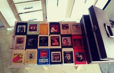 Lot Of 18 vintage 8 Track Tapes With Case