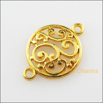 20Pcs Gold Plated Flower Clouds Round Circle Charms Connectors 14x20.5mm