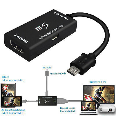 MHL Adapter for Smartphones Tablets Micro USB Male to HDMI Female 11Pin HDTV